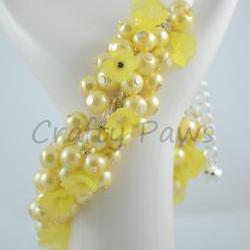 Yellow Flower Cluster Bracelet